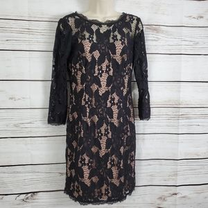 Adrianna Papell   Lace Floral Dress Nude Underlay